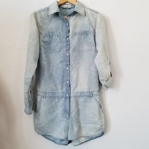 Clock House Long Sleeves Romper, Chambray, 36